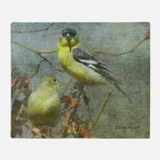 Goldfinch Pair Layered Textures Throw Blanket