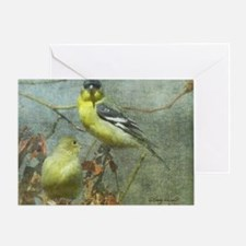 Goldfinch Pair Layered Textures Greeting Card