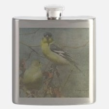 Goldfinch Pair Layered Textures Flask
