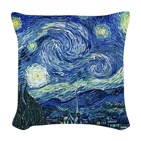 van gogh starry nightOriginal Woven Throw Pillow