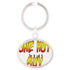 One Hot Guy Oval Keychain