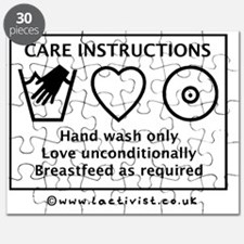 Care Instructions, Hand Wash Only, Love Unc Puzzle