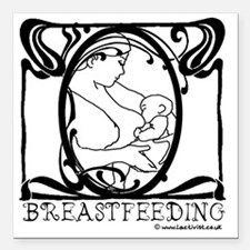 """Breastfeeding Picture Square Car Magnet 3"""" x 3"""""""
