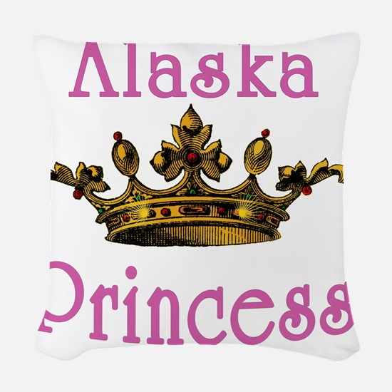 Alaska Princess with Tiara Woven Throw Pillow