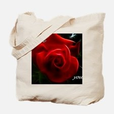 Romantic Red Rose Fractal With I Love You Tote Bag