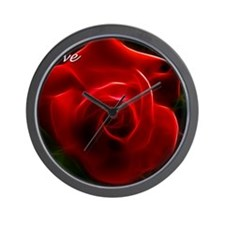 Romantic Red Rose Fractal With I Love Y Wall Clock