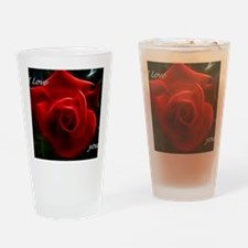 Romantic Red Rose Fractal With I Lo Drinking Glass