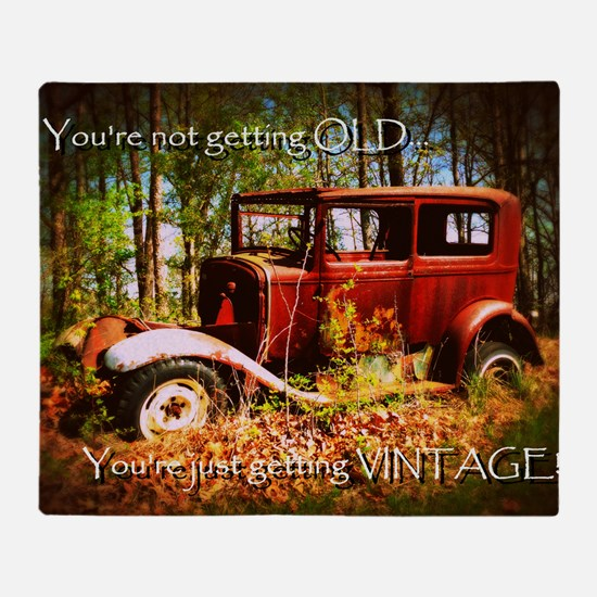 Vintage Car Birthday Card Throw Blanket