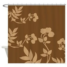 Chocolate And Tan Floral Shower Curtain