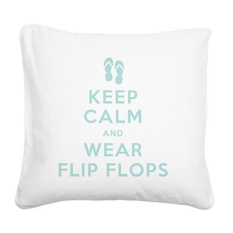 t-shirt_keep calm_flipflops_F Square Canvas Pillow