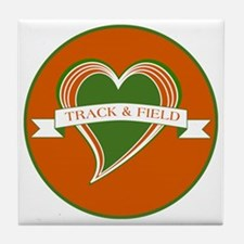Love Heart Track and Field Tile Coaster