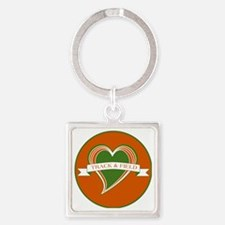 Love Heart Track and Field Square Keychain