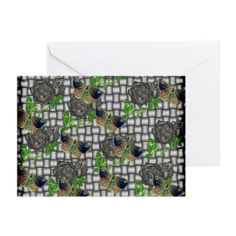 Butterflies and Black Roses Greeting Cards (Pk of