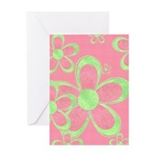 Pink and Green Flowers Greeting Cards