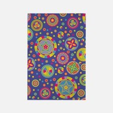 Starry Circles Pattern in Disco C Rectangle Magnet