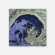 "HokusaiFeminieWave1 Square Sticker 3"" x 3"""
