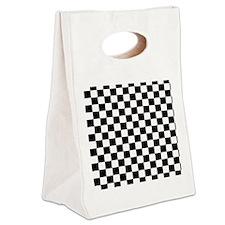 black checkered board Canvas Lunch Tote