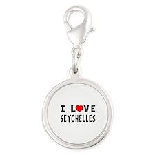 I Love Seychelles Silver Round Charm