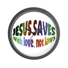 Jesus Saves with Love, Not Laws Wall Clock