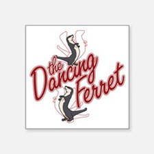 "The Dancing Ferret (dark) Square Sticker 3"" x 3"""
