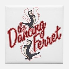The Dancing Ferret (dark) Tile Coaster