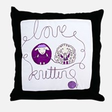 cute sheep couple knitting wool Throw Pillow