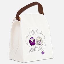 cute sheep couple knitting wool Canvas Lunch Bag