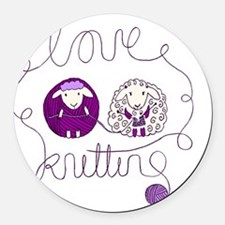 cute sheep couple knitting wool Round Car Magnet