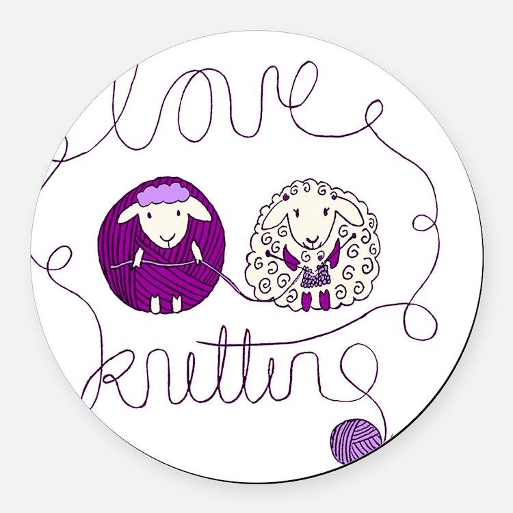 cute sheep couple knitting wool Round Car Magnet