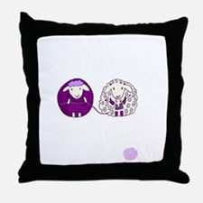 cute sheep couple knitting Throw Pillow