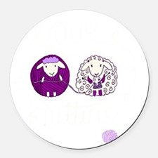 cute sheep couple knitting Round Car Magnet