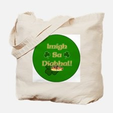 GO-TO-THE-DEVIL-BUTTON Tote Bag
