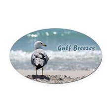 Gray gull Oval Car Magnet