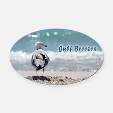 Gray gull Oval Car Magnet