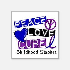"D Childhood Strokes Square Sticker 3"" x 3"""