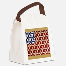 Patrotic USA  quilted flag  note  Canvas Lunch Bag