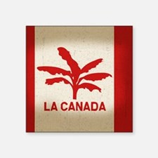 "la-canada-flag-BUT Square Sticker 3"" x 3"""