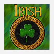 CELTIC-IRISH-SHAMROCK-shower_curtain Tile Coaster