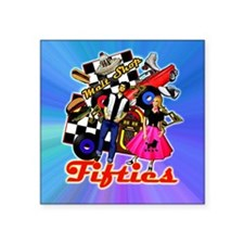 "FABULOUS-FIFTIES-BLUE-showe Square Sticker 3"" x 3"""