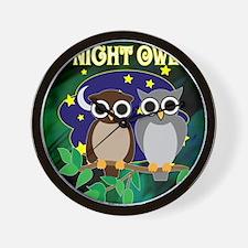 NIGHT-OWL-RETRO-70S-shower_curtain Wall Clock