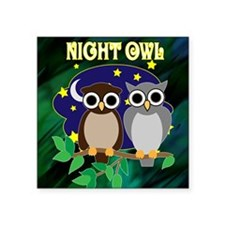 "NIGHT-OWL-RETRO-70S-shower_ Square Sticker 3"" x 3"""