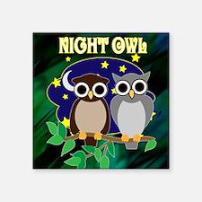 "NIGHT-OWL-RETRO-70S-shower_ Square Sticker 3"" x 3"""