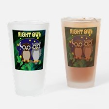 NIGHT-OWL-RETRO-70S-shower_curtain Drinking Glass