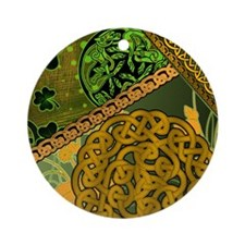 CELTIC-KNOTWORK-IRISH-shower_curtai Round Ornament