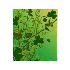 IRISH-SHAMROCK-FILLIGREE-shower_curt Throw Blanket