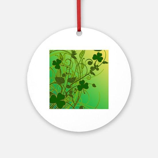 IRISH-SHAMROCK-FILLIGREE-shower_cur Round Ornament