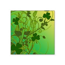 "IRISH-SHAMROCK-FILLIGREE-sh Square Sticker 3"" x 3"""
