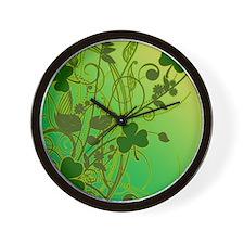 IRISH-SHAMROCK-FILLIGREE-shower_curtain Wall Clock