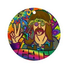 PSYCHEDELIC-PEACE-shower_curtain Round Ornament