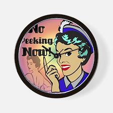 NO-PEEKING-NOW-RETRO-shower_curtain Wall Clock